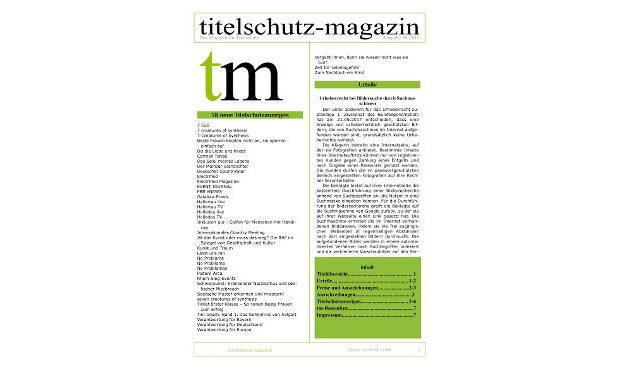 Titelschutz Magazin Oktober 2018