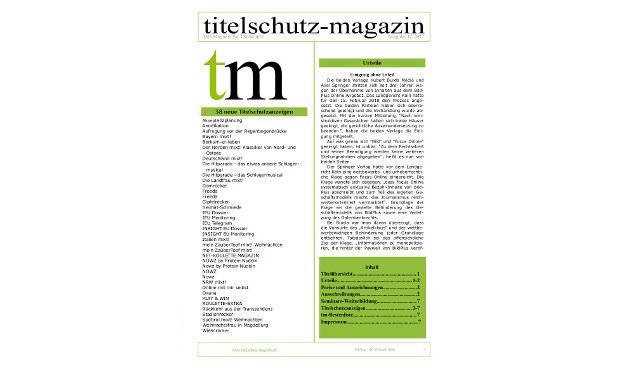 Titelschutz Magazin August 2018