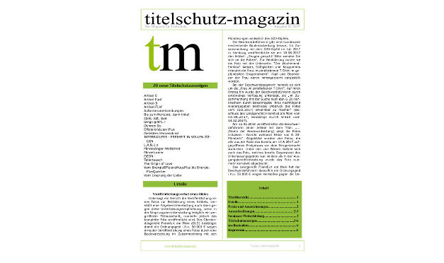 Titelschutz Magazin April 2019